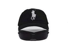 Mens Polo Ralph Lauren Big Pony Embroidered No. 3 Left Stitched Strap Back Adjustable Cap - Black