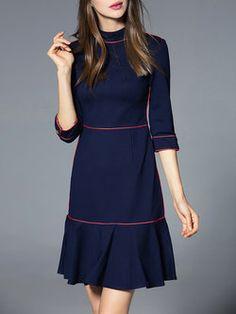 Navy Blue Flounce Elegant Cotton-blend Ruffled Mini Dress