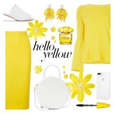 """Hello, Yellow!"" by rasa-j ❤ liked on Polyvore featuring STELLA McCARTNEY, Roland Mouret, Marni, Mansur Gavriel, Versace, Maybelline, womensFashion, PopsOfYellow and NYFWYellow"
