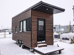 Sequoia Tiny House on wheels prototype by Minimaliste Houses, located in Quebec, Canada. Simple Beautiful Design.