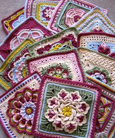 Crochet Granny Square Patterns Ravelry: dakotastamper's William Morris Swap (Pattern link for each square listed) - Crochet Squares Afghan, Crochet Motifs, Crochet Quilt, Crochet Blocks, Granny Square Crochet Pattern, Afghan Crochet Patterns, Knit Or Crochet, Crochet Crafts, Crochet Stitches