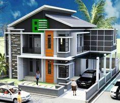 39 Minimalist 2 Storey Home Design Inspirations for you Latest House Designs, Cool House Designs, House Design Pictures, Modern Minimalist House, Beautiful House Plans, Townhouse Designs, Two Storey House, Bungalow House Plans, House Front Design