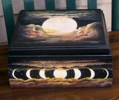 The phases of the moon set against black lacquer. Moon Setting, Moon Phases, Griddle Pan, Illusions, Inspiration, Black, Design, Stone, Biblical Inspiration