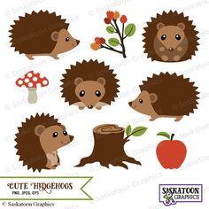 Lindo erizo bosque Clipart - archivo de descarga instantánea - gráfica Digital - lindo - artes, Web, uso de fiesta - comercial y Personal - Hedgehog Craft, Baby Hedgehog, Cute Crafts, Crafts For Kids, Diy Crafts, Diy Bebe, Marionette, Baby Clip Art, Gifts For Photographers