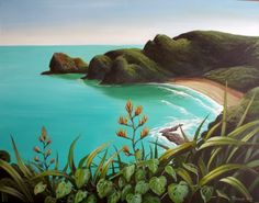 Whites Beach, painting by Monique Endt. Nz Art, Art For Art Sake, New Zealand Art, Kiwiana, Beach Scenes, Ocean Art, Easy Paintings, Pictures To Paint, Watercolor Paintings