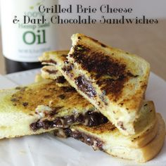Grilled Brie Cheese and Dark Chocolate Sandwiches - Famished Fish, Finicky Shark