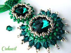 Handmade Beadwork  Swarovski Pendant  Rivolis Crystal by Creheart, €35.00