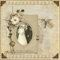 Always and Forever.an elegant monochromatic wedding page adorned with lace, buttons, flowers and a heart shaped key. Heritage Scrapbook Pages, Love Scrapbook, Photo Album Scrapbooking, Vintage Scrapbook, Scrapbook Designs, Wedding Scrapbook, Scrapbook Page Layouts, Scrapbook Paper, Scrapbooking Ideas