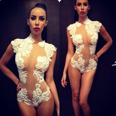 #ShareIG We got a lot of comments on this piece . It's a hand made white lace appliqué over nude mesh one piece . Collaboration with @havefaithswimgerie @Jennifer Stano David and @Lilly Ghalichi for info on this piece please email valeriecostello8@gmail.com @valeriecostello8 will help with all questions .