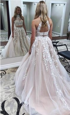Charming Prom Dress, Tulle Appliques Evening Dress, Sexy #longpromdresses