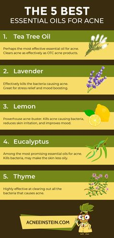 <img> The top 5 essential oils for acne treatment are tea tree oil, lavender oil, lemon oil, eucalyptus oil and thyme. Read more on how to use them, how to mix them with a carrier oil and which carrier oil to use! Best Essential Oils, Essential Oil Uses, Eucalyptus Oil Uses, Acne Remedies, Health Remedies, Natural Remedies, Tea Tree Oil For Acne, Skin Bumps, Coconut Oil For Dogs