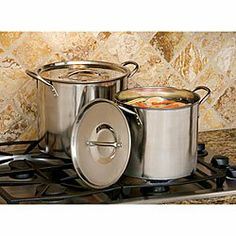 Cooks Pro Stainless Stockpots (Set of 2) . $56.99. Durable cookware set includes one 8-quart pot and one 12-quart pot     Each pot comes with stainless rived handles and a stainless steel lid     Easy to clean     Ideal for making soups and stocks     12-quart stock pot measures 13.125 inches tall x 10.25 inches wide x 8.625 inches deep     8-quart stock pot measures 12 inches tall x 9.25 inches wide x 8.125 inches deep. This Cooks Pro stockpot set is constructed of stainle...