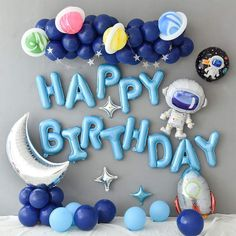 Blue Birthday Parties, Happy Birthday Balloons, Birthday Party Decorations, Space Baby Shower, Astronaut Party, Outer Space Party, Pot A Crayon, Merry Christmas Wishes, Balloon Garland