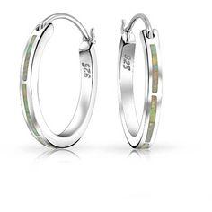 925 Silver Hoop Earrings Synthetic White Opal October Birthstone ($37) ❤ liked on Polyvore featuring jewelry, earrings, birthstones, fake earrings, birthstone jewelry, silver jewelry, silver jewellery and opal hoop earrings