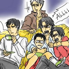 """The Bat Family boys watching a horror film. HILARIOUS. I love how Bruce is just like, """"Whatevs."""""""