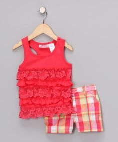 Take a look at this Red Ruffle Tank & Plaid Shorts - Infant by Young Hearts on #zulily today!