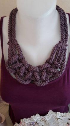 ElinorHandmade / tmavofialový pletený Crochet Necklace, Jewelry, Fashion, Moda, Jewlery, Jewerly, Fashion Styles, Schmuck, Jewels
