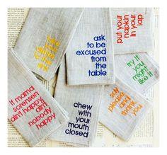 Set of SIX (6) Linen Table Manners for Kids Dinner Napkins