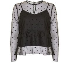 Topshop Dobby Spot Mesh Frill Blouse (235 RON) ❤ liked on Polyvore featuring tops, blouses, flutter-sleeve top, topshop tops, polka dot blouse, topshop blouses and polka dot top