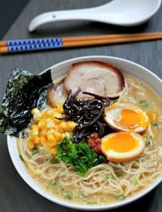 Been chasing the wonderful tasting tonkatsu ramen from Mitsuwa market for a year now, will be trying this recipe! Tonkatsu Ramen with Chashu (Japanese Braised Pork Belly) and Ajitsuke Tamago (Marinated Soft-Boiled Egg) Ramen Broth, Ramen Soup, Ramen Noodle, Noodle Soups, Ramen Recipes, Asian Recipes, Cooking Recipes, Hawaiian Recipes, Korean Recipes