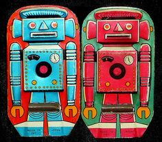 cool tin robot whistles from Japan, 1960 #This! Hashtags: #Majestic #Android