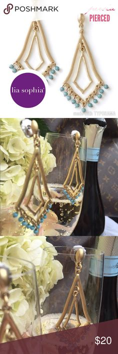 LIA SOPHIA PERSIA PIERCED Earrings LIA SOPHIA PERSIA Earrings, gold toned dangled earring, with a little turquoise beads hanging from a pierced (post) setting. Size: 2 3/4 Lia Sophia Jewelry Earrings
