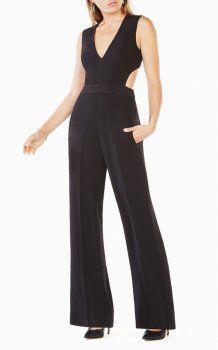 ef5427ff5afd Black BCBG Satin Malgosia Cutout Jumpsuit Sexy 2017