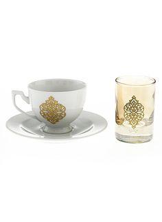 DECORISTAN Handmade Gold Rumi Turkish Coffee Set w/ 1 glass1