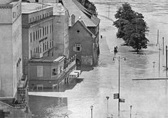 Hochwasser 1954, Obere Donaulände Painting, Image, Linz, Historical Pictures, Painting Art, Paintings, Painted Canvas, Drawings