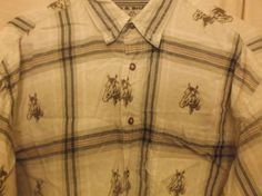 Bit-Brindle-Blouse-Womens-Medium-Plaid-Button-Down-Western-Horse-Shirt