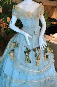 1860 Extravagant Robins Egg Blue Silk Wedding Gown with Train Matching Shoes. Detail