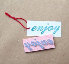 Enjoy Hand Carved Stamp for Acrylic Blocks by hugfishandorange, $5.50