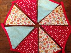 Bunting Pennant Flag Vintage Fabric for Home, Porches, Birthdays, Patios, Photo Booths, Red and Robin's Egg Blue by ThirtySixDesign for $31.50