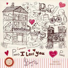 ilustración vectorial con símbolos de París - Ilustración de stock: 20952577