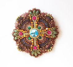 """Manual brosa.  Masters Corecte - manual.  Cumpara broșă Mandala """"Silk Road"""".  Handmade.  Brosa brodate, malachit"""