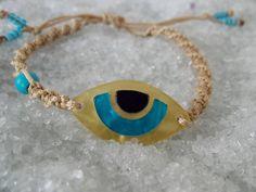 Plexiglass Bracelet, Gold Evil Eye Bracelet, Turquoise Bracelet, Blue and Gold Jewelry, Plexi Bracelet, Handmade Bracelet, Macrame, Braided by AccessoriesByAA on Etsy