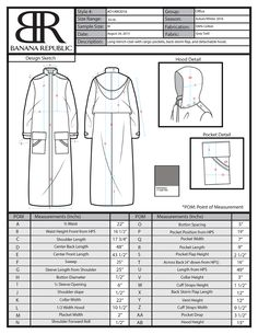 Fashion Design Portfolio, Fashion Design Sketches, Banana Republic, Size 12 Fashion, Cost Sheet, Moda Peru, Motifs Textiles, Tech Pack, Fashion Dictionary