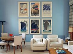 living room posters. Love these vintage travel posters  they would be perfect above a dresser Decorating With Vintage Travel Posters