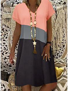 Γυναικεία Φόρεμα ριχτό Φόρεμα μέχρι το γόνατο - Μισό μανίκι Φλοράλ Στάμπα Καλοκαίρι Λαιμόκοψη V Καθημερινό καυτό φορέματα διακοπών Φαρδιά 2020 Θαλασσί M L XL XXL 3XL 2020 - € 16.9 Necklines For Dresses, Types Of Dresses, Short Dresses, Dresses Dresses, Dresses Online, Fashion Dresses, Women's Fashion, Summer Dresses, Latest Fashion