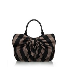 Mink painted stripe small bow wanda bag