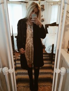 Ootd: free people patterned dress, urban layered necklaces, high black boots + urban knee socks, free people coat ❤️ love you guys / have a good day