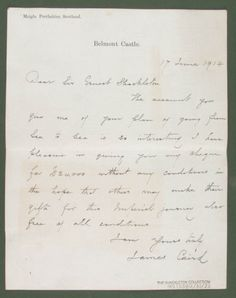 A letter from James Caird to Ernest Shackleton. June 1914. Found on SPRI