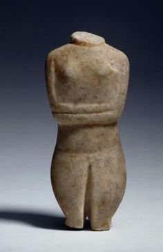 Torso of a female figure with folded arms. Eastern Mediterranean, Greece, the Cyclades. Early Cycladic II, Spedos variety (c. 2700-2400 BC). Marble. h 13.9 cm. Acquired 1955. Robert and Lisa Sainsbury Collection. UEA 348. www.scva.uk