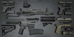Exploded view of Sig 516, Glock 43, Glock 19, and FNX-45 Tactical - http://military66.com/exploded-view-of-my-sig-516-glock-43-glock-19-and-fnx-45-tactical/