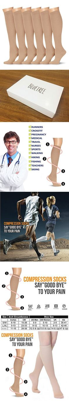 6 Pairs Knee High Graduated Compression Socks For Women and Men - Best Medical, Nursing, Travel & Flight Socks - Running & Fitness - 15-20mmHg (Large/X-Large, Nude)