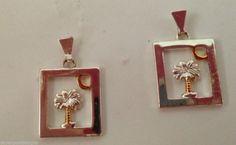 "Palm Tree Moon  Earrings Jewelry 1"" L  Nickel Lead Free Hypoallergenic Posts #DavenportDesigns #Stud"