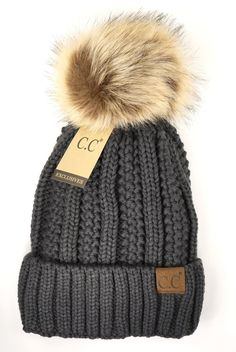 Fuzzy Lined Fur Pom CC Beanie Stay warm all Winter in this super soft lined fur pom! Cc Beanie, Beanie Hats, Cc Hats, Knitted Hats, Crochet Hats, Birkenstock Outfit, Cute Beanies, Crochet Patterns For Beginners, Fur Pom Pom