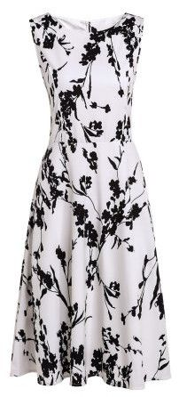 Fashionable Round Collar Sleeveless Floral Print Slimming Women's Dress