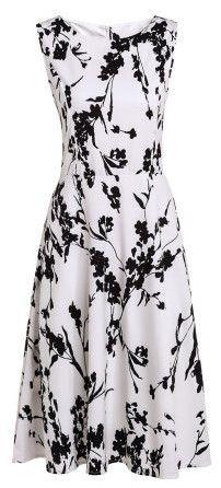 Fashionable Round Collar Sleeveless Floral Print Slimming Women's Dress