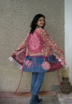 Eco Coat, Shabby Chic Tunic Dress, Artsy Upcycled Clothing by EcoClo, Size L. $118.00, via Etsy.